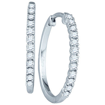 Diamond Ladies Micro-pave Earrings in 10k White Gold 0.23 ctw