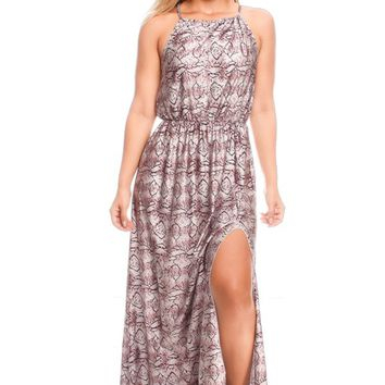 PURPLE MULTI PRINT DESIGN SPAGHETTI STRAP SLEEVELESS CUTOUT LOOK MAXI DRESS