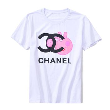 CHANEL Fashion Print Short Sleeve Tunic Shirt Top Blouse