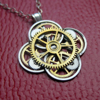 "Watch Gear Flower Necklace ""Delphinium"" Elegant Recycled Steampunk Gear Pendant Mechanical Plant Pendant Petal Clover Luck Gift Gershenson"