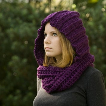Hooded Scarf, Purple Crochet Hood
