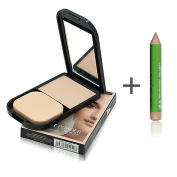 Face Foundation Base Makeup Matte Studio Fix Pressed Powder Palette + Concealer Pencil Pen + Puff Contour Nude Compact Powder