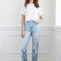 High-Waisted Distressed Boyfriend Jeans