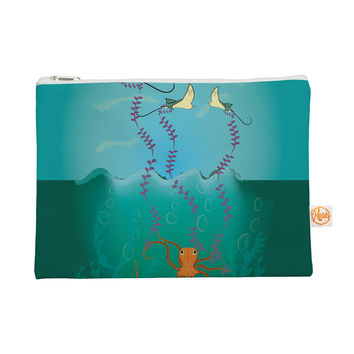 "Famenxt ""Octopus Flying Manta Rays"" Teal Green Everything Bag"