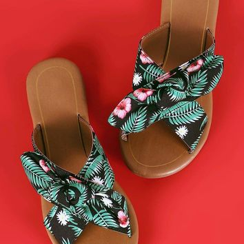 Qupid Knotted Bow Accent Cross Band Slide Flat Sandal
