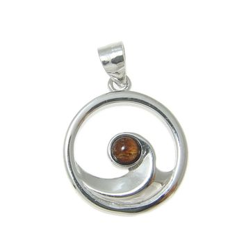 STERLING SILVER 925 HAWAIIAN KOA WOOD OCEAN WAVE PENDANT ROUND RHODIUM 15MM