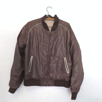 Vintage 1970s 80s Men's Retro Brown Carl Michaels Jacket Coat Mens Blazer Size Medium Bomber Motorcycle Jacket Pilot Boho Hipster Classic