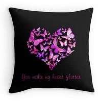 Black and Pink Butterflies, Love Heart, Typography Heart,  Quote Scatter Cushion, 16x16