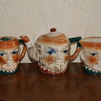 Vintage Face Or Toby Style Teapot With Sugar And Creamer Set Made In Japan Circa 1930s to 1940s