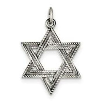 Antiqued Star of David Charm in Sterling Silver