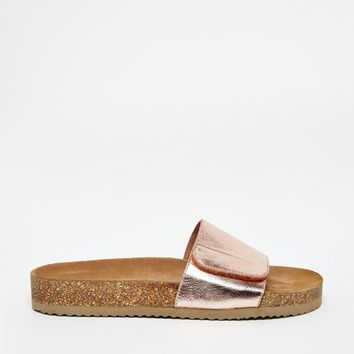 Selected Lenna Copper Footbed Slider Flat Sandals