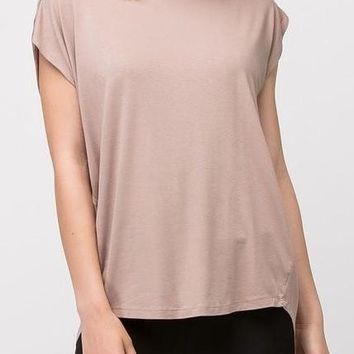 Andrea Crepe Top in Iced Coffee