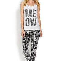 FOREVER 21 Meow PJ Set White/Black
