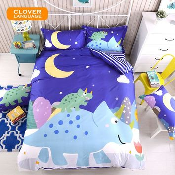 Blue Dinosaur Bedding Set Kids Cotton Printed Duvet Cover Set Pillowcase Sheet Full Queen Size Cartoon Bed Linens