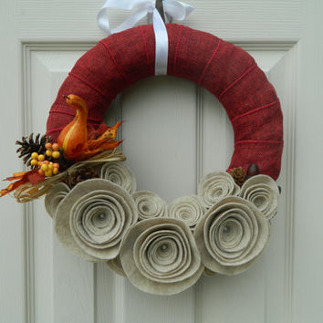READY TO SHIP Red Fall Wreath -Autumn Burlap and Felt Flower Wreath with Leaves and Mini Pumpkins, Pinecones and Acorns