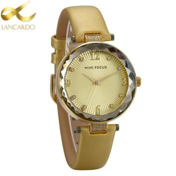 Japan Movt Fashion Women Gold Watches 2018 Luxury Brand Leather Lancardo Ladies Quartz Watch Women Dress Clock Relogio Feminino