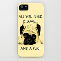 Love and a Pug iPhone & iPod Case by Veronica Ventress