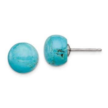 10-10.5mm Button Turquoise Sterling Silver Stud Earrings