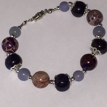Beautiful plum and periwinkle hand-strung beaded bracelet, imperial jasper, ceramic and glass beads