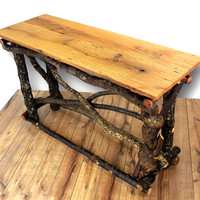 Reclaimed Wood Sofa Table, Entryway Table, Reclaimed Wood Table, Rustic Table, Rustic home decor, Wood furniture, Log Furniture, Primitive