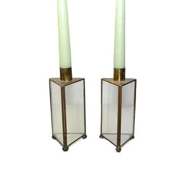 Brass and Glass Candle Holders Glass Triangle Candlesticks Glass Taper Candlestick Holders Glass Candlestick Holders