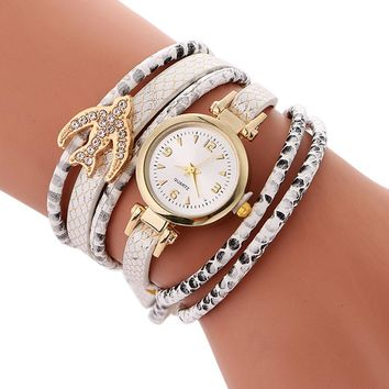 Relogio Watch 2017 Ladies Bracelet Watch Crystal Faux leather strap Circle Watch Clock Fashion relojes mujer Womens Watches #919