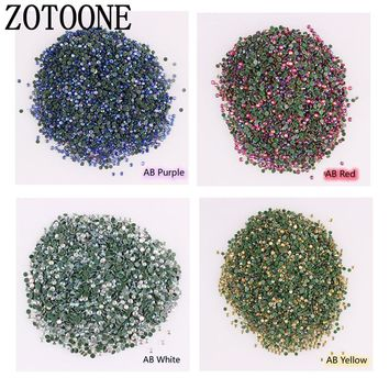 ZOTOONE 1440Pcs/Pack Gold Flat Back AB Rhinestone 2-3MM SS6-SS12 Crystal 3D Nail Crystal DIY Shiny Diamond Sequin Nail Sparkly C