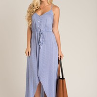 Carissa Blue Striped High Low Maxi Dress