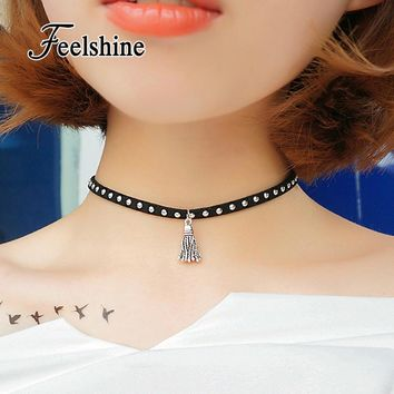 Choker Necklace Outfits  Gothic Style Black Leather Color Tassel
