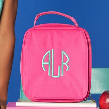 Hot Pink Monogrammed Lunch Box
