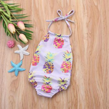 Cute Toddler Kids Baby Girl Swimsuit Sling Pineapple Swimwear Bikini Bathing One-Piece Suit Beachwear Outfits Summer Clothing