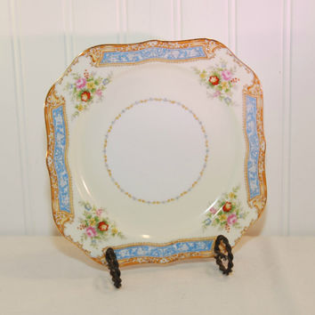 Vintage Noritake Square Luncheon Plate (c. 1930's) Fine China, Gold Trim, Cottage Charm Floral, Gold and Blue Band, Country Cottage Charm