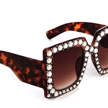 Square Luxury Rhinestone Sunglasses