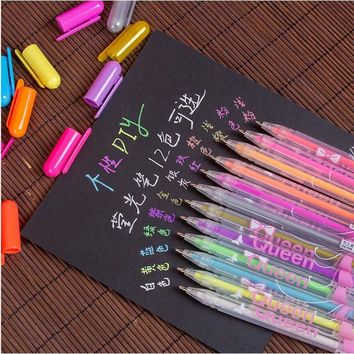 12pcs/lot Watercolor Chalk color gel pen set Refills Metallic Pastel Neon Glitter Drawing Art Marker Pen School Stationery 04071