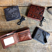 Mens Tooled Wallet with Phone Charger