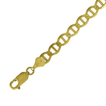 Polished 5mm Solid Mariner Link Chain Bracelet or Necklace in 10k Yellow Gold