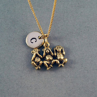 Three Monkeys Necklace, three wise monkeys, see no evil, hear no evil, speak no evil, initial necklace, personalized necklace
