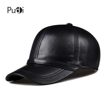 Trendy Winter Jacket HL091 Spring genuine leather man's baseball cap hat  men's real leather adjustable trucker driving black snapback hats caps AT_92_12