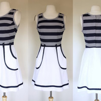 1960s blue and white tennis dress, fit and flare sleeveless striped dress, Small, US 6