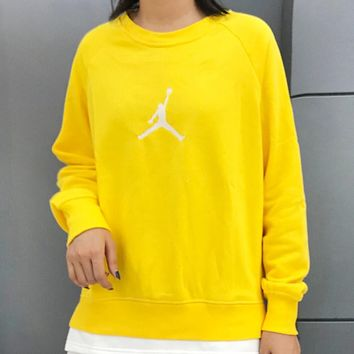 Jordan Autumn And Winter Fashion New Embroidery People Long Sleeve Top Sweater Yellow