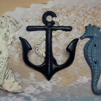 Nautical White Navy Blue Shabby Cottage Chic Beach Trio Wall Hooks Mermaid Anchor Seahorse Cast Iron Key Leash Jewelry Hat Scarf Set 3 Hooks