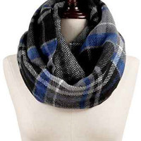 Black, Navy, Grey, and Blue Plaid Infinity Scarf