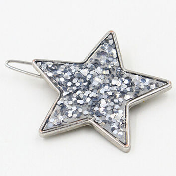 Silver Sequined Star Hair Clip