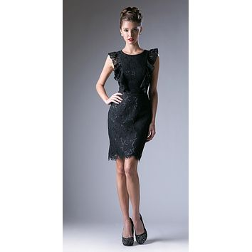 Black Ruffled Sleeves Short Bridesmaids Sheath Dress