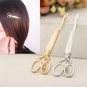 Cool Simple Head Jewelry Hair Pin Gold Scissors Shears Clip For Hair Tiara Barrettes Accessories Headdress For Girl Women