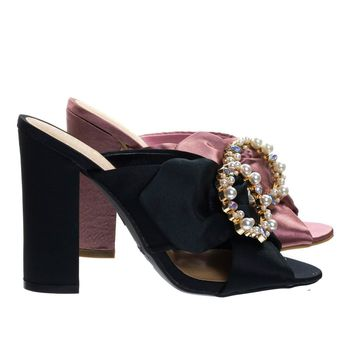 Encounter92 Black By Bamboo, Satin Baroque Block Heel Mule Sandal w Embellished Crystal & Pearl