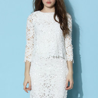 Full Flower Crochet Top and Skirt Set in White White