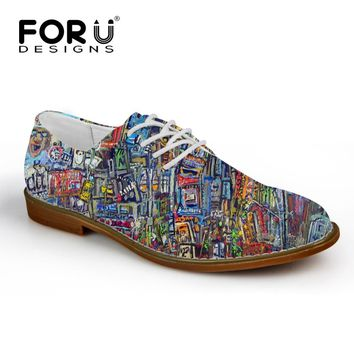 FORUDESIGNS Fashion Graffiti Painting Men's Casual Leather Shoes Breathable Lace up Flats for Man High Quality Male Oxford Shoes