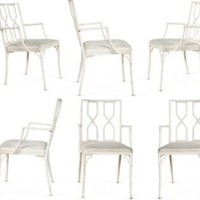 One Kings Lane - Kelly Wearstler: Modern Glamour - White Bamboo-Style Chairs, Set of 6