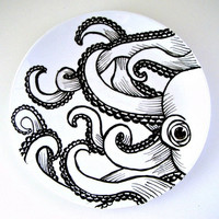 Octopus Plate Ceramic Black White Hand Painted Kraken Sea Creature Nautical Decor Tentacles Wall Art Decorative Plate - READY TO SHIP